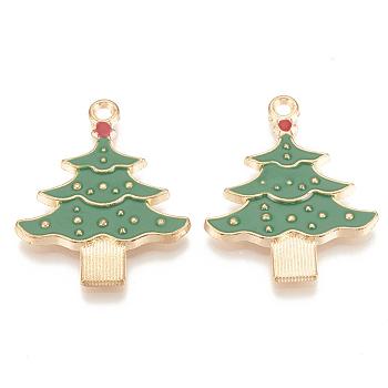 Alloy Enamel Pendants, Cadmium Free & Lead Free, Christmas Trees, Light Gold, Green, 33x26x2.5mm, Hole: 2mm