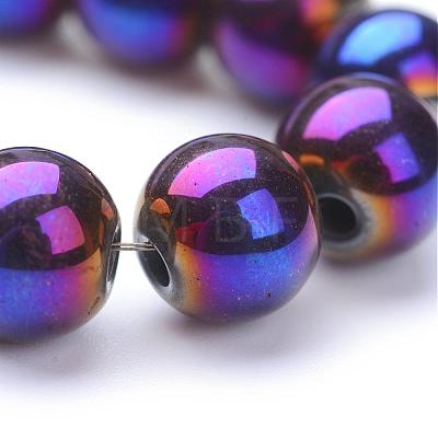 Non-magnetic Synthetic Hematite Beads Strands G-S096-8mm-6-1