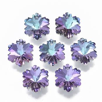 K9 Glass Rhinestone Charms, Imitation Austrian Crystal, Faceted, Snowflake, for Christmas, Light Amethyst, 14x12.5x7.6mm, Hole: 1.2mm
