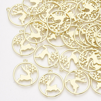 Alloy Pendants, Flat Round with Christmas Reindeer/Stag and Snowflake, Light Gold, 25x22x1mm, Hole: 1.5mm