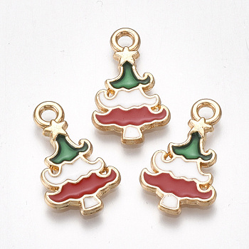 Alloy Pendants, Cadmium Free & Lead Free, with Enamel, Christmas Tree, Light Gold, Colorful, 20x12x2mm, Hole: 2mm