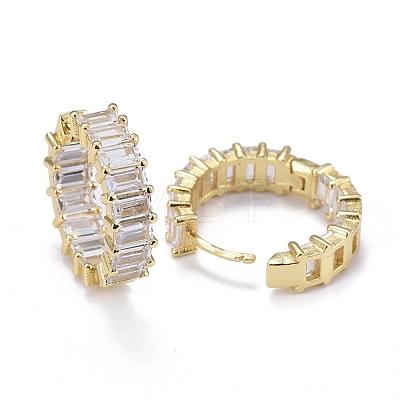 Brass Micro Pave Cubic Zirconia Huggie Hoop EarringsEJEW-K083-37G-B-1