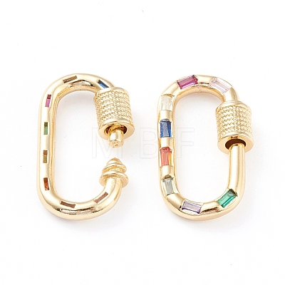 Brass Micro Pave Cubic Zirconia Screw Carabiner Lock Charms ZIRC-L093-58B-G-1