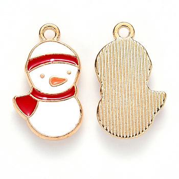 Alloy Enamel Pendants, for Christmas, Snowman, Light Gold, Red, 20x12x2mm, Hole: 1.6mm