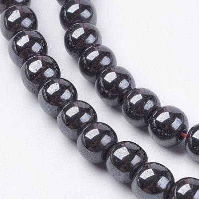 Non-Magnetic Synthetic Hematite Beads Strands G-H1624-6mm-2-1