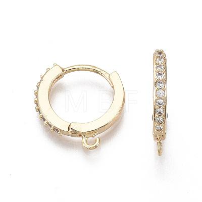 Brass Micro Pave Cubic Zirconia Huggie Hoop Earring FindingsKK-T063-013-NF-1