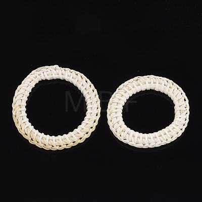 Handmade Reed Cane/Rattan Woven Linking RingsWOVE-T005-25-1