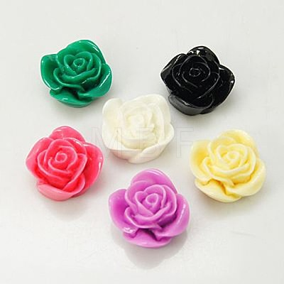 Mixed Color Flatback Resin Rose Flower Cabochons Scrapbooking CraftX-CRES-A0018-M-1