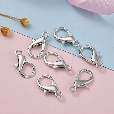 Platinum Plated Zinc Alloy Lobster Claw ClaspsX-E107-1