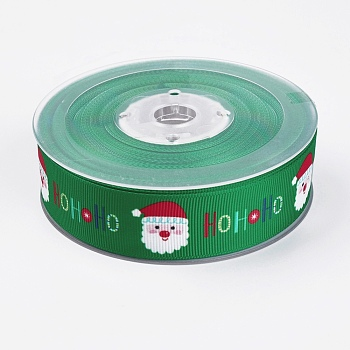Polyester Printed Grosgrain Ribbons, Christmas Theme, Santa Claus, Green, 1inches(25mm); about 100yards/roll(91.44m/roll)