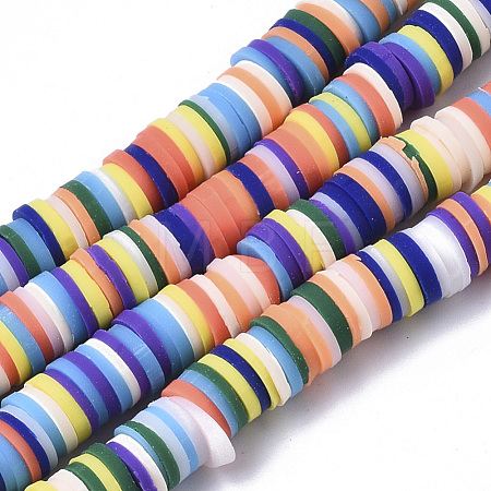 Handmade Polymer Clay Beads Strands CLAY-R089-6mm-084-1