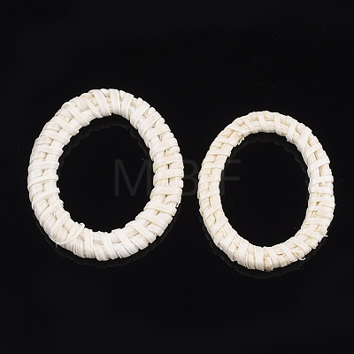Handmade Reed Cane/Rattan Woven Linking RingsWOVE-T005-18B-1