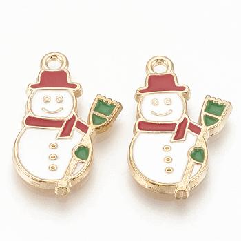 Alloy Enamel Pendants, Cadmium Free & Lead Free, Snowman, Christmas, Light Gold, Creamy White, 22x13x2mm, Hole: 1.5mm