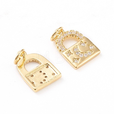 Brass Micro Pave Clear Cubic Zirconia CharmsZIRC-I043-24G-1