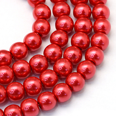 Baking Painted Pearlized Glass Pearl Round Bead StrandsHY-Q330-8mm-74-1