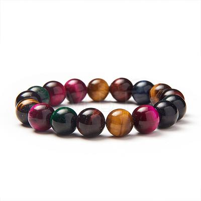 SUNNYCLUE® Natural Tiger Eye Round Beads Stretch BraceletsBJEW-PH0001-10mm-09-1